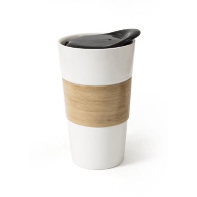 Чашка фарфоровая NARINA с керамической крышкой и бамбуковой вставкой