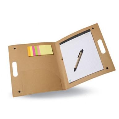 Эко папка для бумаг из переработанного картона с блокнотом на 20 листов, ручкой и набором стикеров