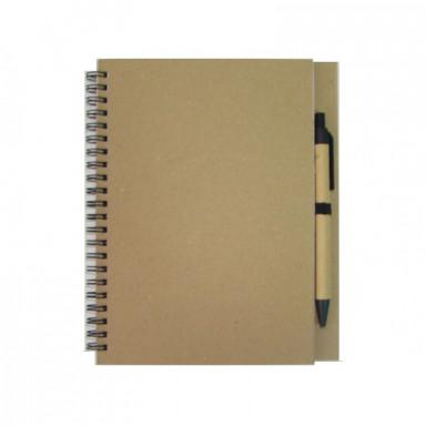 Эко-блокнот А5 формата на 48 листов с ручкой.