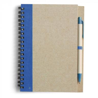 Блокнот с ручкой, из переработанных материалов. Кремовый блок в линейку, на 60 листов