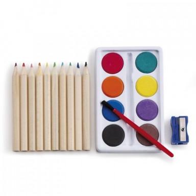Набор для рисования в картонной коробке: карандаши, краски, кисточка, точилка