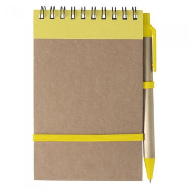 Блокнот формата А6  с ручкой из переработанных материалов. Белый блок в линейку, на 70 листов