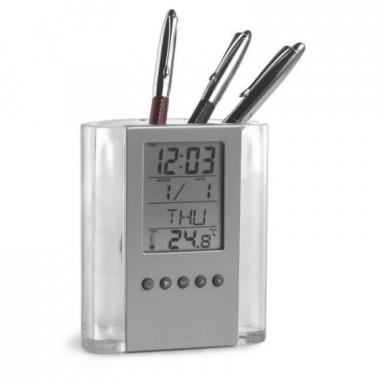 Подставка под ручки с универсальными часами, календарем, будильником и термометром