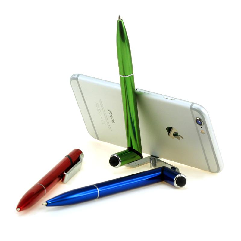Металлическая ручка-стилус-подставка под смартфон