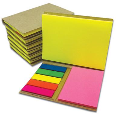 Блокнот 105х80 мм со стикерами Post-It ярких, неоновых цветов и самоклеющимися PET закладками