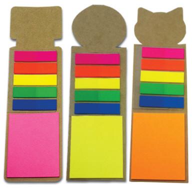Закладка  со стикерами Post-It ярких цветов и самоклеющимися PET закладками (маркерами)