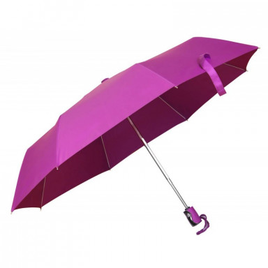 Складной автоматический зонт с пластиковой ручкой в цвет полотна