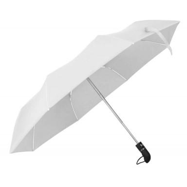 Складной автоматический зонт с пластиковой эргономичной ручкой черного цвета